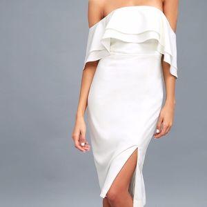 Band White Off-the-Shoulder Midi Dress